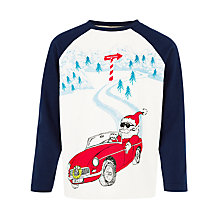 Buy John Lewis Boy Vintage Car Santa Long Sleeve T-Shirt, Cream/Navy Online at johnlewis.com