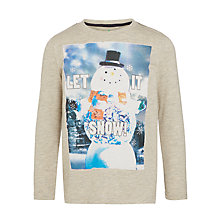 Buy John Lewis Boys' Let It Snow Top, Oatmeal Online at johnlewis.com