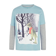 Buy John Lewis Boys' Snowball Dino Print T-Shirt, Blue Online at johnlewis.com