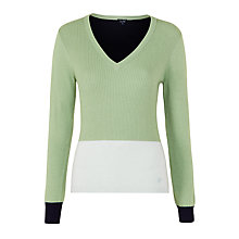 Buy Armani Jeans Colour Block V-Neck Jumper, Sage Online at johnlewis.com