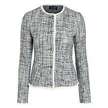Buy Armani Jeans Tweed Collarless Jacket, Blue Online at johnlewis.com
