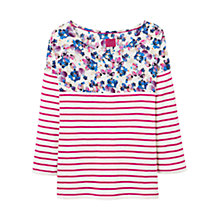 Buy Joules Jersey Top with Woven Yolk, Soft Grey Posy Online at johnlewis.com