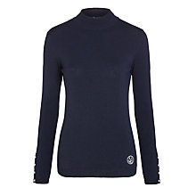 Buy Armani Jeans Roll Neck Pearl Detail Jumper, Navy Online at johnlewis.com