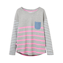 Buy Joules Tally Contrast Stripe Jersey Top, Grey Marl Online at johnlewis.com