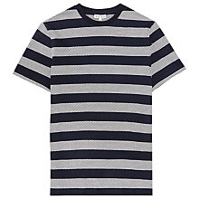 Buy Reiss Pret Textured Stripe T-Shirt, Navy Online at johnlewis.com