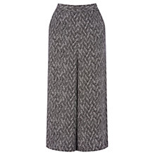 Buy Warehouse Pattern Printed Culottes, Black Online at johnlewis.com