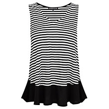 Buy Warehouse Stripe Vest Top, Black Online at johnlewis.com