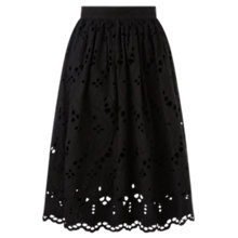 Buy Jigsaw Cutwork Broderie Cotton Skirt, Black Online at johnlewis.com