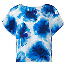 Buy Jigsaw Silk Floral Top, Blue Online at johnlewis.com