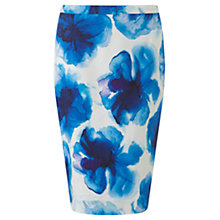 Buy Jigsaw Ink Floral Pencil Skirt, Blue Online at johnlewis.com