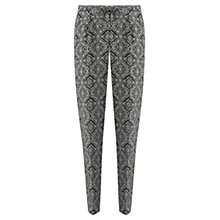 Buy Jigsaw Diamond Tile Print Soft Trousers, Black Online at johnlewis.com