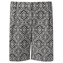 Buy Jigsaw Diamond Tile Print Linen Blend Shorts, Black Online at johnlewis.com