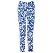 Buy Warehouse Pattern Floral Pique Cotton Trousers, Cobalt Online at johnlewis.com