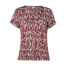 Buy Jigsaw Batik Shell Print Linen T-Shirt, Dark Red Online at johnlewis.com
