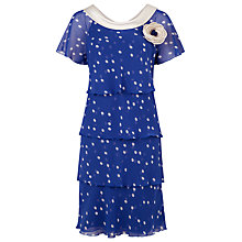 Buy Jacques Vert Petite Spot Tiered Dress, Azure Online at johnlewis.com