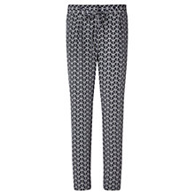 Buy Jigsaw Palm Print Soft Silk Trousers, Navy Online at johnlewis.com