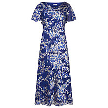 Buy Jacques Vert Falling Petals Devor Dress, Mid Blue Online at johnlewis.com