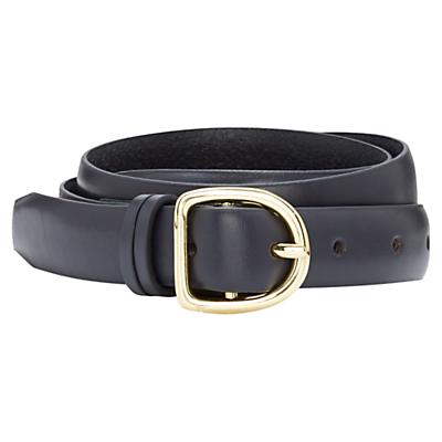 Viyella Leather Belt, Navy