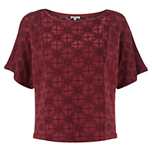 Buy Jigsaw Linen Embroidered Kimono Top, Red Online at johnlewis.com