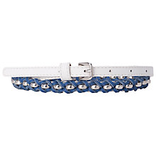 Buy French Connection Heidi Leather Waist Belt, Summer White / Electric Online at johnlewis.com