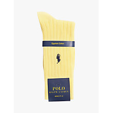Buy Polo Ralph Lauren Egyptian Cotton Blend Ribbed Socks, Yellow Online at johnlewis.com