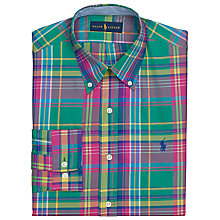 Buy Polo Golf by Ralph Lauren Classic Poplin Twill Check Shirt, Green/Pink Online at johnlewis.com