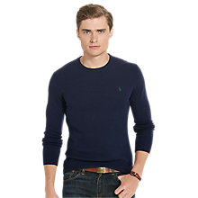 Buy Polo Ralph Lauren Long Sleeve Merino Wool Jumper, Hunter Navy Online at johnlewis.com