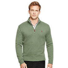 Buy Polo Ralph Lauren Zip Collar Jumper, Lovett Heather Online at johnlewis.com