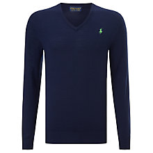 Buy Polo Golf by Ralph Lauren Long Sleeve V-Neck Merino Wool Jumper Online at johnlewis.com