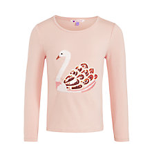Buy John Lewis Girl Long Sleeve Swan T-Shirt, Pink Online at johnlewis.com