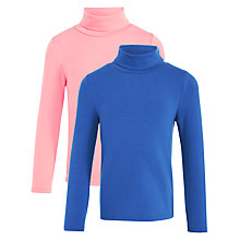 Buy John Lewis Girls' Roll Neck Top, Pack of 2, Blue/Pink Online at johnlewis.com