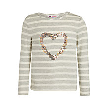 Buy John Lewis Girls' Sequin Heart Stripe T-Shirt, Grey Online at johnlewis.com