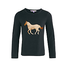 Buy John Lewis Girl Horse Graphic T-Shirt, Grey Online at johnlewis.com