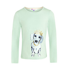 Buy John Lewis Girl Long Sleeve Dog Tiara T-Shirt, Green Online at johnlewis.com