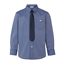 Buy John Lewis Boys' Fine Stripe Shirt With Tie, Navy Online at johnlewis.com