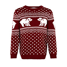 Buy John Lewis Boy Charity Polar Bear Christmas Jumper, Red Online at johnlewis.com