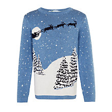 Buy John Lewis Boy Santa Sleigh Jumper, Teal Online at johnlewis.com