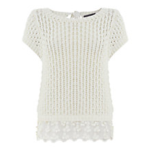 Buy Mint Velvet Lace Hem Jumper, Cream Online at johnlewis.com
