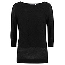 Buy Mint Velvet Lace Panel Linen Knit Top, Black Online at johnlewis.com