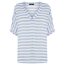 Buy Oasis V-Neck Stripe Blouse, Blue Online at johnlewis.com