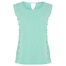 Buy Oasis Lace Side Shell Top, Pale Green Online at johnlewis.com