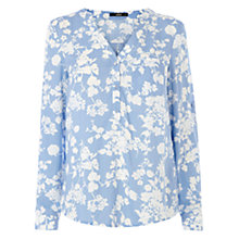 Buy Oasis Shadow Chambray Shirt, Mid Blue Online at johnlewis.com