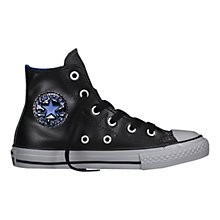 Buy Converse CTAS High Leather Look Casual Trainers, Black/Multi Online at johnlewis.com
