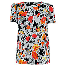 Buy Oasis Rose Print T-Shirt, Light Blue Online at johnlewis.com