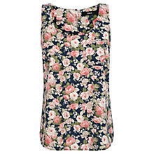 Buy Oasis Denim Rose print Vest, Navy Online at johnlewis.com