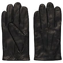 Buy Gant Fitted Leather Gloves, Black Online at johnlewis.com