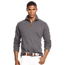 Buy Polo Ralph Lauren Half-Zip Jumper, Dark Grey Heather Online at johnlewis.com