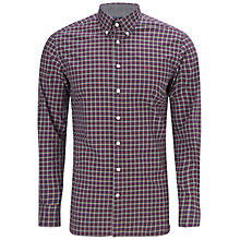 Buy Hackett London Overcheck Shirt, Navy Online at johnlewis.com