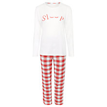 Buy John Lewis Sleep Check Pyjama Set, Red/Ivory Online at johnlewis.com