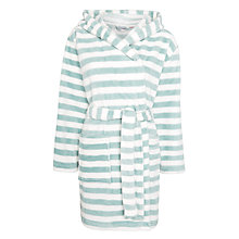 Buy John Lewis Short Hooded Stripe Robe, Aqua/White Online at johnlewis.com